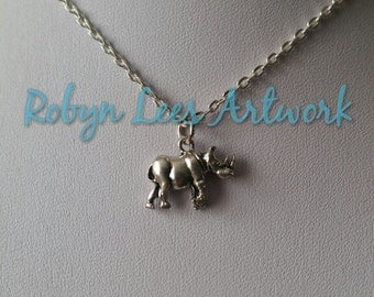 Small 3D Silver Rhino Charm with Horns Necklace on Silver Crossed Chain, Rhinoceros