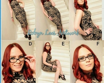 Robyn Lees Red Head & Glasses Hand Signed Model Prints, Modeling Photographs Options #1