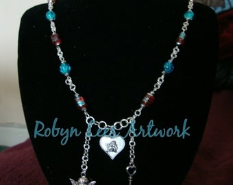 Cupid Love Valentine's Necklace with Silver Cupid In Heart, Heart Key and Cupid With Wings with Red Drum Beads