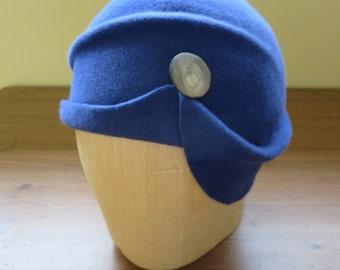 Hand-blocked freeform women's hat in blue fur felt