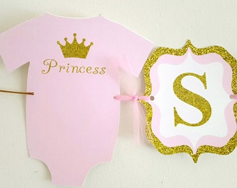 Princess Baby Shower, Princess Baby Shower Banner, Pink and Gold Baby Shower Banner
