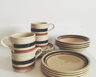 Biltons Dish Set // Bowls Side Plates Cups and Saucers // 1970s Kitchenware // Made in England