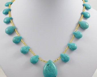 Turquoise Gemstone Teardrop Beads Boho Necklace with Gold Seed Beads - Handmade