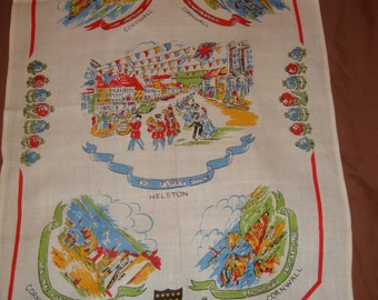 Vintage Linen Towel or Table Runner CORNWALL Souvenir The Furry Dance Longships Lighthouse Colorful Tourist Kitsch