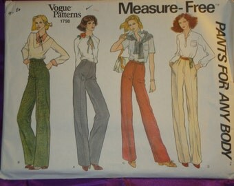 1980s 80s Vintage High Waist Straight Leg Pants Back Side or Front Zip n Front Button 4 Vws UNCUT Vogue Pattern 1798 Wst 26.5 Inch 67 Metric