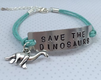 Save the Dinosaurs bracelet - animal rights Humour Bracelet funny gift boho Bracelet quirky bracelet hippie bracelet nature bracelet