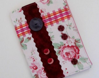 Removeable book cover ~ Refillable slip on cover, vintage fabrics and buttons ~ A5 old roses wrap for notebook, address book ~ Gift for her