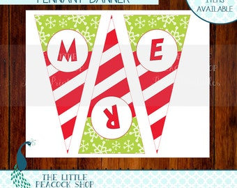 Grinch Merry Grinchmas printable Pennant Banner | Who Christmas Grinchmas Party | INSTANT DOWNLOAD