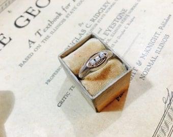 Vintage 14K Gold Electroplated Rhinestone Ring - Size 7
