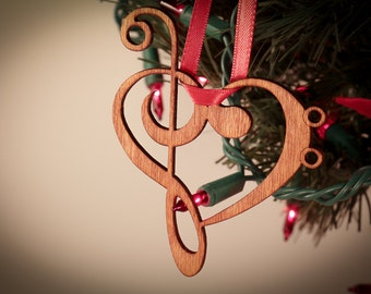 Music Heart Ornament made from Music Symbols; Laser cut ornament