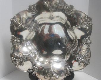 "Vintage Stamped ""SHREVE"" Sterling Silver Repousse Monogrammed Fruit Bowl w/Thistle Design."