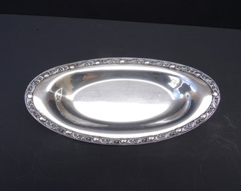 Vintage Oval Silver Plated Serving Trays, WM Rogers Victorian Rose, Rogers & Bros. Silver Plate Serving Tray