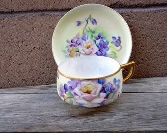 Vintage Pink And Purple Roses Teacup, Hand Painted Eggshell Porcelain Teacup And Saucer Takiro Japan