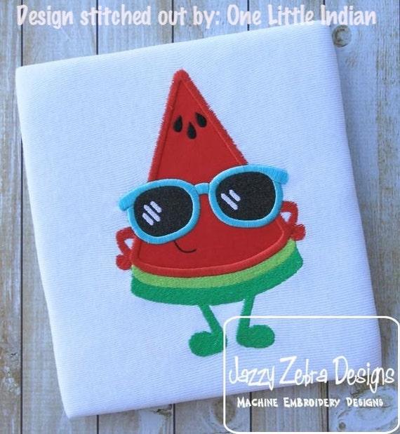Watermelon Slice with sunglasses Appliqué Embroidery Design - watermelon appliqué design - summer appliqué design - fruit appliqué design