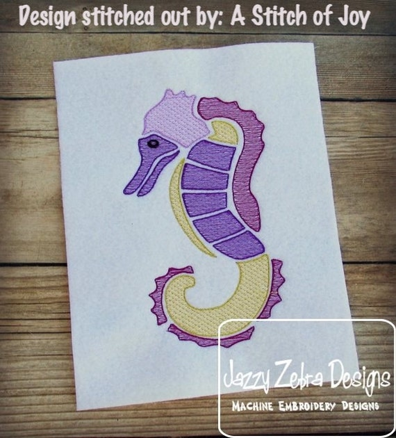 Sea Horse Color Sketch Embroidery Design - beach Sketch Embroidery Design - summer Sketch Embroidery Design - seahorse Sketch Embroidery