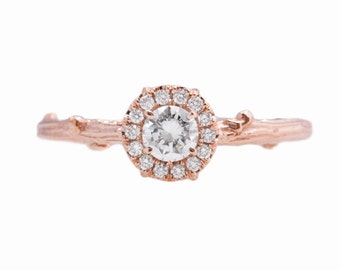 Twig Halo Ring in 14kt Rose Gold with Forever One Moissanite