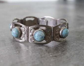 southwest turquoise bracelet / sterling silver turquoise bracelet / mexican silver bracelet