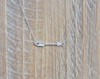 Arrow Necklace.  Sterling silver necklace with horizontal arrow.  Sideways arrow necklace. Silver Arrow jewelry.