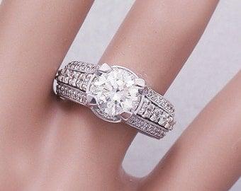 14k White Gold Round Simulated Diamond Engagement Ring Antique Deco 2.90ctw