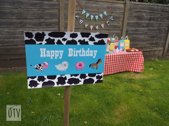 BARNYARD Animal - Farm - Personalised - SIGN - First - Birthday - Baby Shower - Party - Cow Print - PRINTABLE - Digital File - Pdf