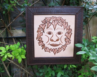 Green man framed leather picture / wall hanging / decoration