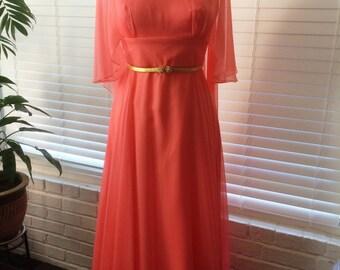 1960s Coral Chiffon Formal Dress Size Small