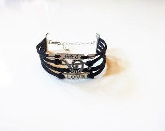 Faith Treble Clef Love Black Cord Bracelet