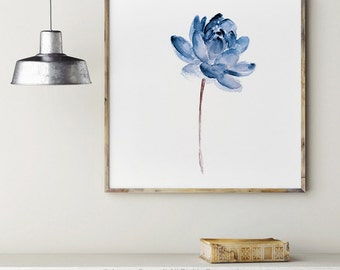 Lotus Flower Blue Wall Decor, Meditation Art Print Abstract Watercolor Painting, Nursery Illustration Floral Gift Idea, Minimalist Yoga Art