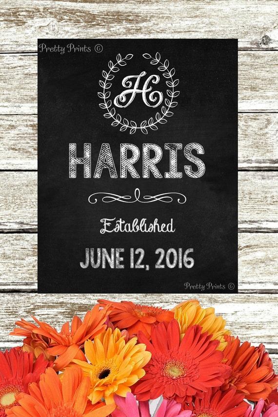 Personalized Chalkboard Art - Family Name -  Initial - Laurel Wreath - Digital Print - Chalkboard Art