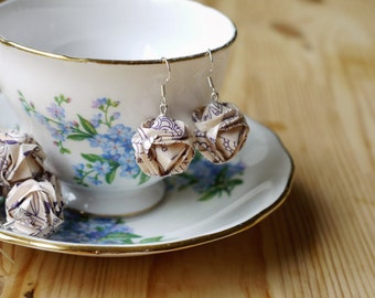 Folded Japanese Brocade Origami Earrings - Wrapping Paper