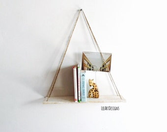 Hanging Pallet Shelf, Rustic Decor, Beach Decor, Wood, Floating Shelf, Swing Shelf, Furniture, Book Shelf, White, Wall Shelf, Small Shelf