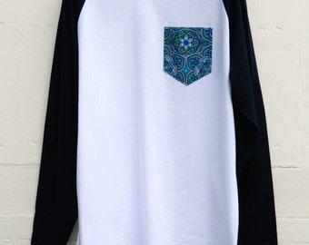Pocket Baseball Sleeves T-Shirts, Floral Pattern, Men's T- Shirt, Pocket tee, Unisex, Menswear, UK