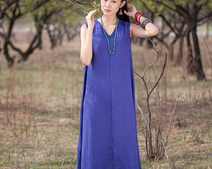 Women dress - Sleeveless Dress - V neck - Spring/Summer dress - Retro dress - Linen dress - Made to order