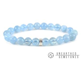 Aquamarine Bracelet -AAA Aquamarine Jewelry, March Birthstone Bracelet, March Birthstone Jewelry, Gemstone Beaded Bracelet