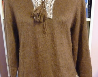 Vintage Retro Inca Alpaca Wool Pullover Sweater Traditional Hoodie from Peru 70s 80s Brown Exc Condition