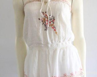 70's Vintage Off White Floral  Embroidered Cotton Gauze Indian Peplum Tube Top