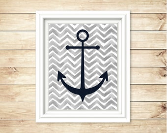 Grey and Navy Nautical Nursery Decor | Matching Set Anchor + Ship Wheel