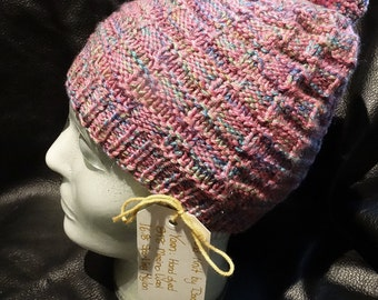 Handknitted Winter Hat 100% Hand Dyed Merino Wool Blend OOAK Sparkly Multicolor