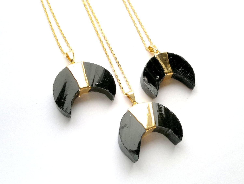 black obsidian moon necklace black moon jewelry by