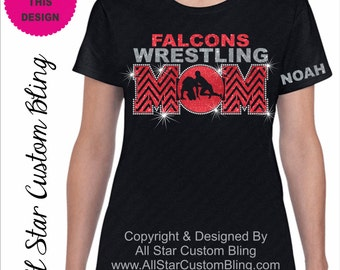 Wrestling Mom Chevron Glitter and Bling Rhinestone Shirt, Wrestling Mom Shirts, Bling Wrestling Mom Shirts