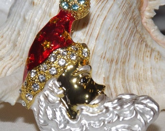 Santa Pin Brooch, Holiday Pin