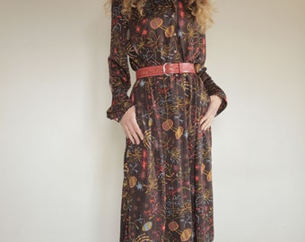 Ken Scott 70's jersey dress with amazing abstract print, microbes, dna and cells, Larger size