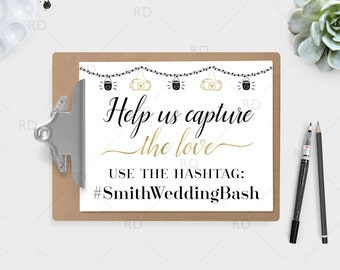 Wedding Hashtag Sign PRINTABLE Art / Use your wedding colors / Hashtag Printable / Wedding Hashtag Print Sign / Custom wedding hashtag