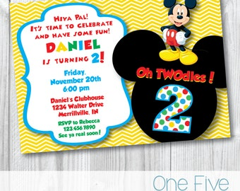 """Mickey Mouse """"Oh TWOdles"""" Birthday Party Invitation - Printable (5x7)"""