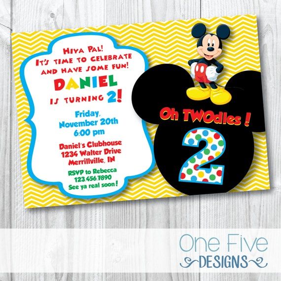 Mickey Mouse Oh TWOdles Birthday Party Invitation