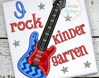 I Rock Kindergarten Digital Machine Embroidery Applique Design 4 sizes
