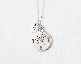 Personalised Compass Necklace | Wanderlust | BFF | Best Friends | BFF Necklace | Jewelry | Jewellery | Sisters | Besties