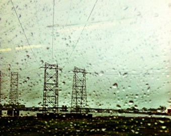 Transmission, 10x10, fine art photo, rainy day, electrical towers, power lines, industrial photos, rain photos, transmission towers