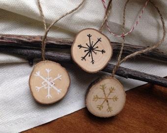 "Snowflake - Small (1.25"") Rustic Christmas Tree Ornaments / Snowflakes Black White Gold Holiday / Tree Slice / Natural Wood Holiday Ornament"
