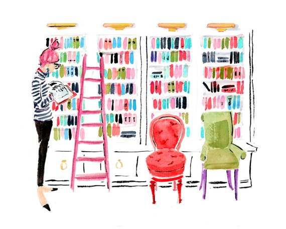 "Art Print: ""In the Library"" {Book Sketch, Reader, Reading Drawing, Cute sketch, girly, Fashion Illustration, bright }"
